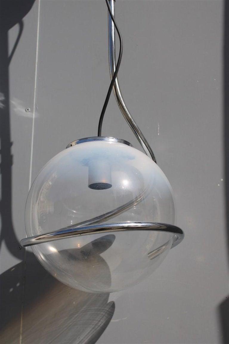Late 20th Century Fabio Lenci Italian Chandelier Pop Art Ball Murano Glass, 1970s For Sale