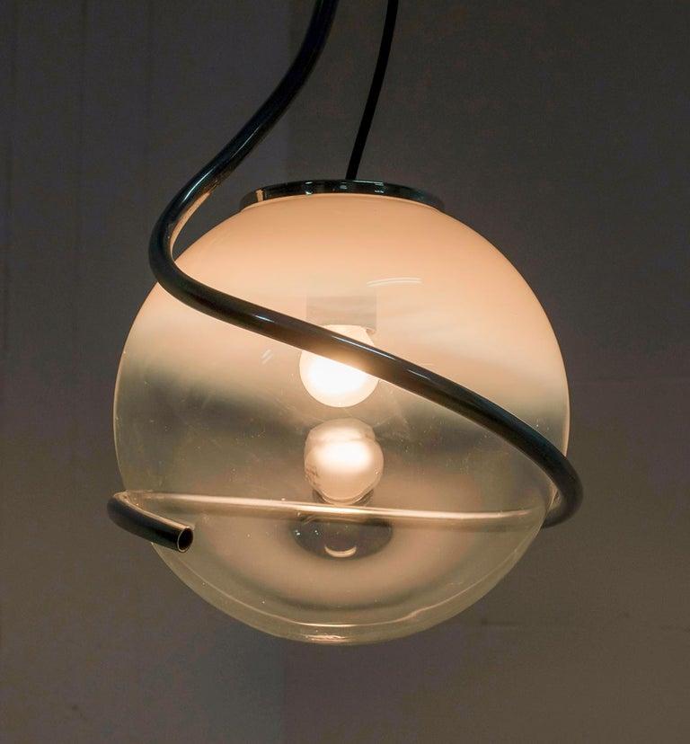 Fabio Lenci Mid-Century Modern Italian Murano Glass Pendant by Guzzini, 1970 For Sale 3