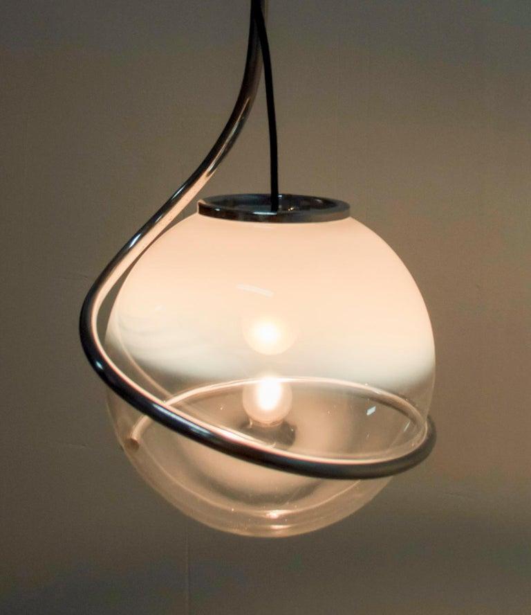 Fabio Lenci Mid-Century Modern Italian Murano Glass Pendant by Guzzini, 1970 For Sale 4