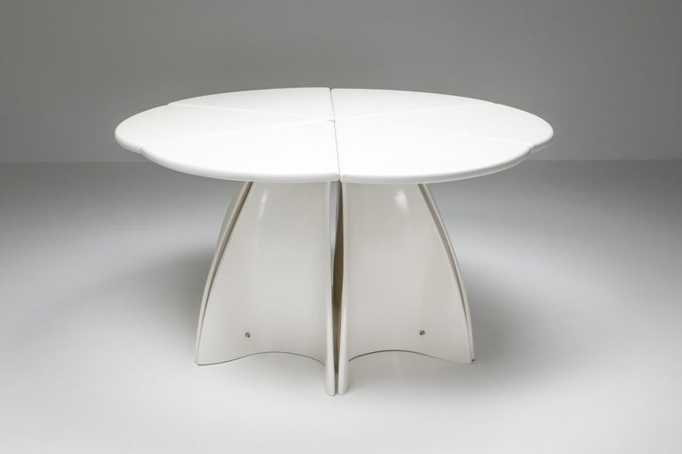 Space Age Postmodern rare piece by Fabio Lenci, Italy 1960s.  This unique tables consists out of 6 'petals' to make a full circle. Each petal could be separated from the piece to be used as side tables or console tables. When joined together