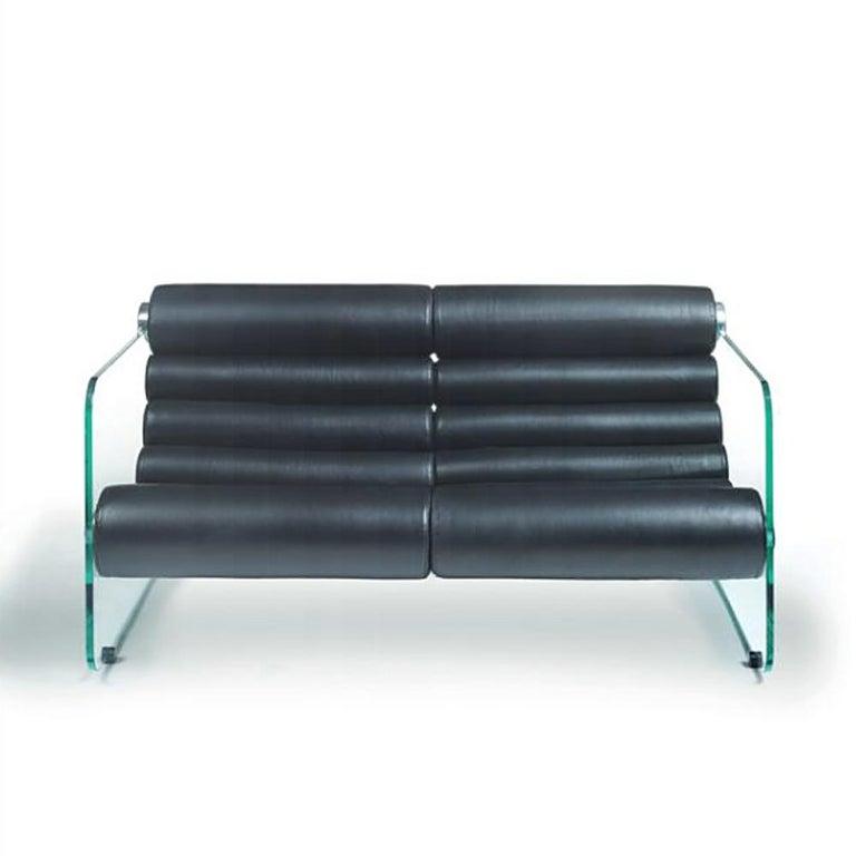 Leather Fabio Lenci Sofa 2-Seat For Sale
