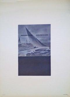 Vincono a Vela - Original Photolithograph by Fabio Mauri - 1976