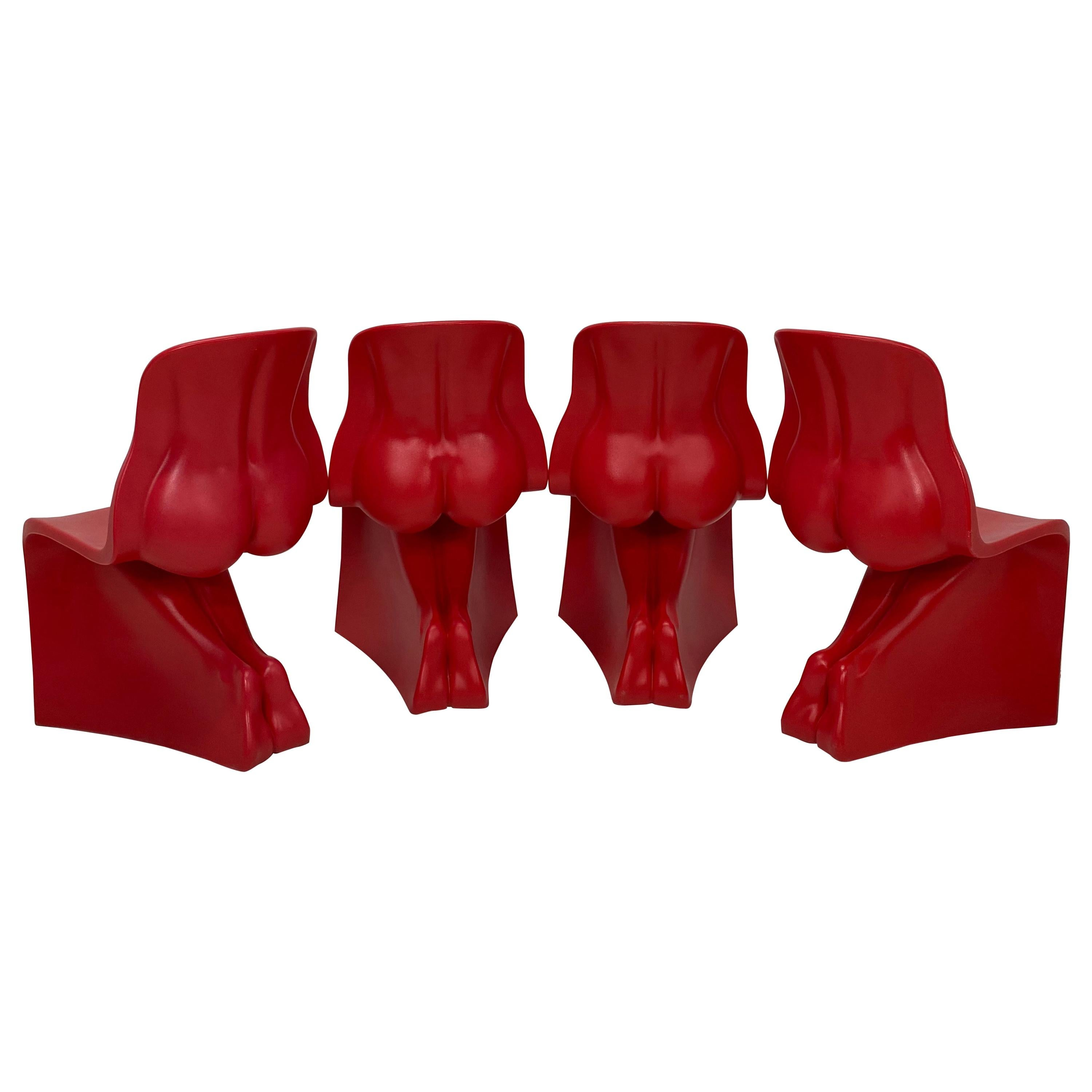 """Fabio Novembre Red """"Her"""" Chairs for Casamania, Set of Four"""