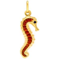 Fabor Vintage Italian Enamel 18 Karat Gold Seahorse Charm, circa 1960
