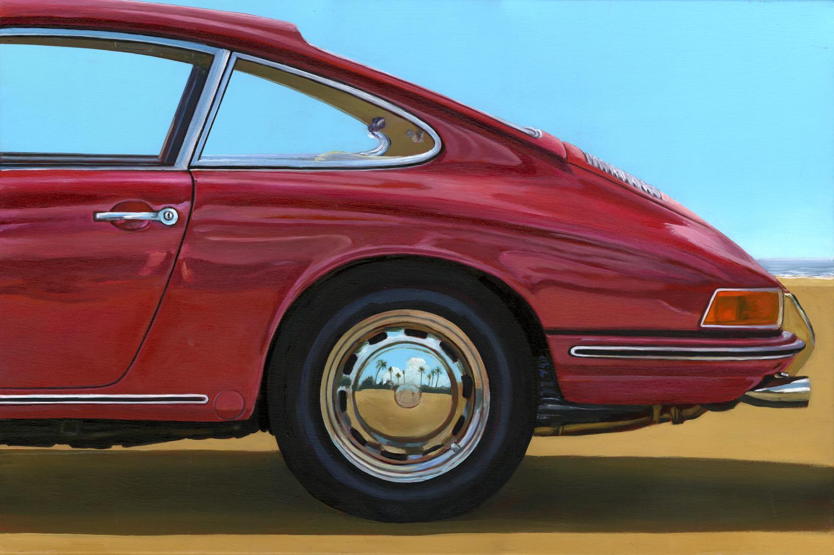 A SUMMER IN SANTA MONICA Porsche 911 S (ARRIERE)- original oil car painting