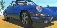 Florida Beach -  original US vintage car colourful oil artwork modern 21st c