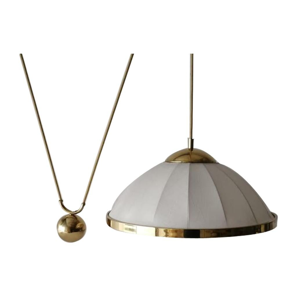 Fabric and Brass Counterweight Pendant Lamp by WKR, 1970s, Germany