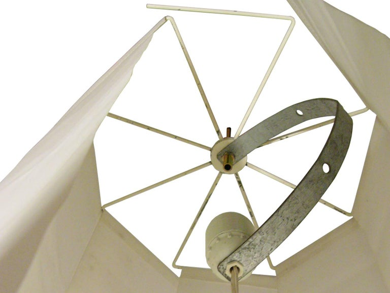 Painted Fabric and Metal Ceiling/Floor Lamp Spyder by Paolo Tilche for Arform, 1962 For Sale