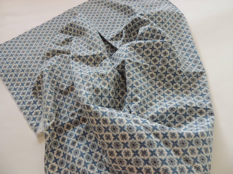 American Fabric by the Yard, Printed Blue and White Medallions Fabric For Sale