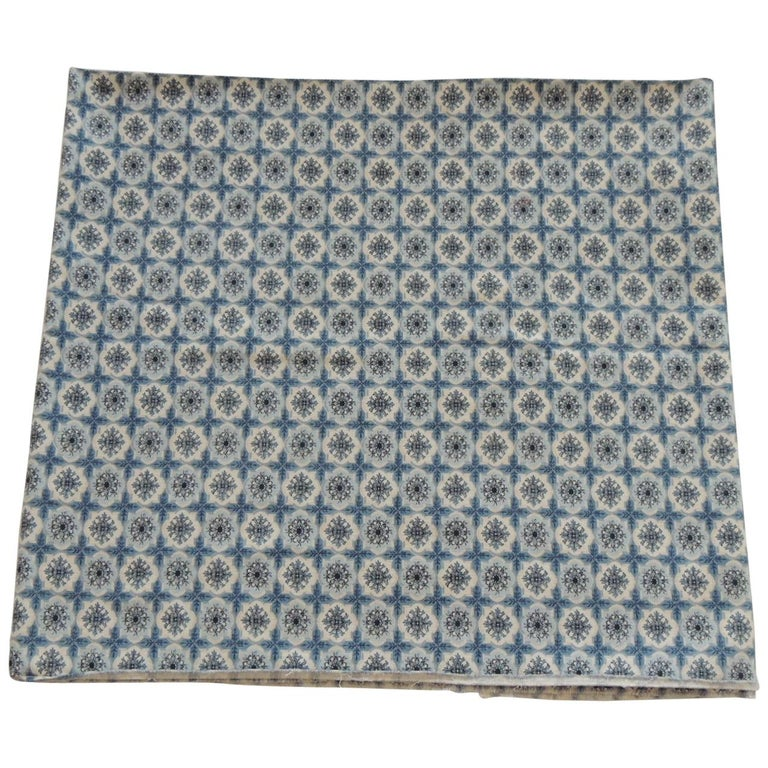 Fabric by the Yard, Printed Blue and White Medallions Fabric For Sale