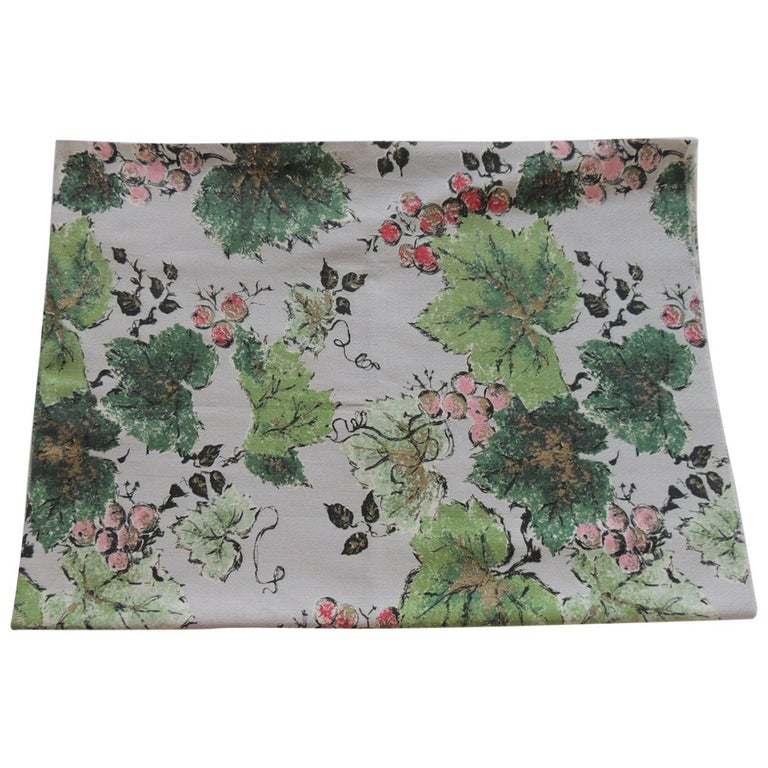 Fabric by the Yard: Printed Cotton Green and Red Grapes Vineyard For Sale