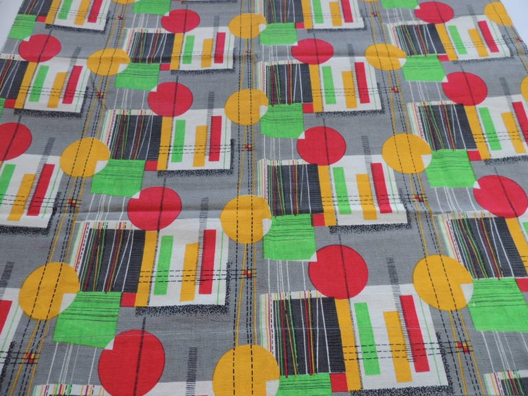Mid-Century Modern Fabric by the Yard, Printed Cotton Midcentury