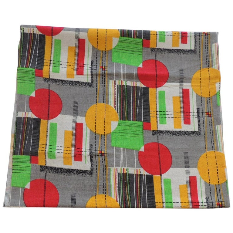 """Fabric by the Yard, Printed Cotton Midcentury """"MOD"""" Multi Color Fabric For Sale"""