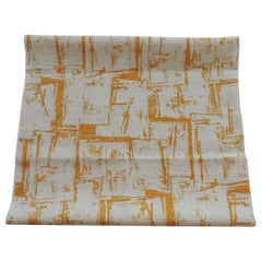 Fabric by the Yard, Printed Linen Yellow and Natural Abstract Fabric