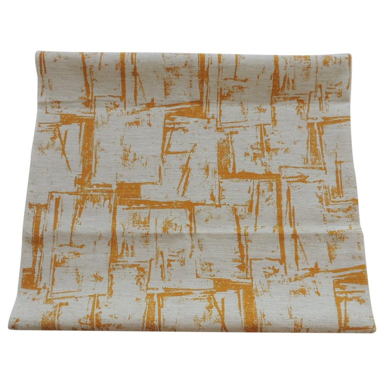 Fabric by the Yard, Printed Linen Yellow and Natural Abstract Fabric For Sale