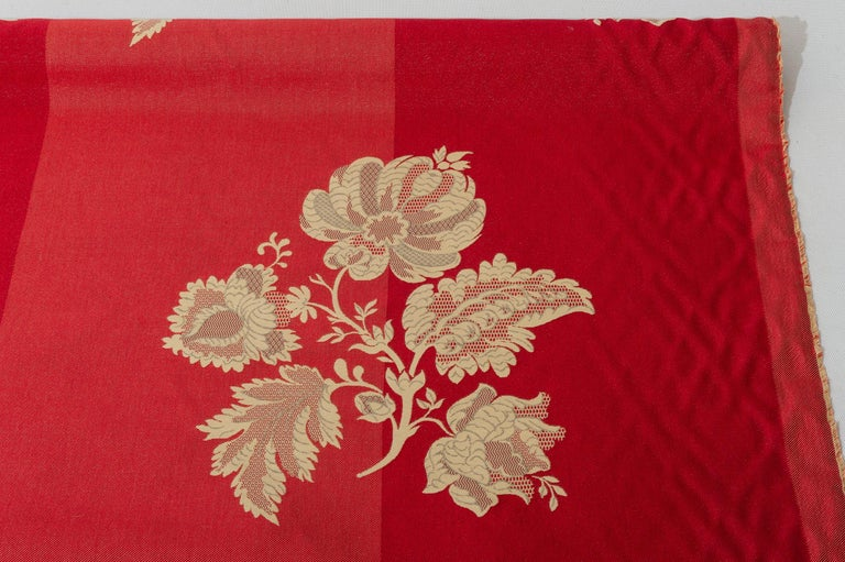 Machine-Made Fabric Cut Mulberry Lace Damask For Sale