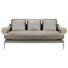 Fabric + Leather Upholstered Sofa with Pewter Painted Steel Frame, B&B Italia
