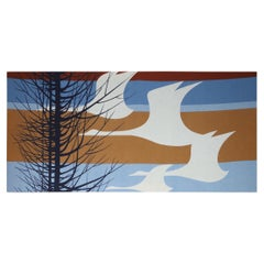 Fabric Panel Wall Art Flying Birds