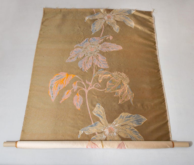 Other Fabric Panel with Large Vertical Flower For Sale