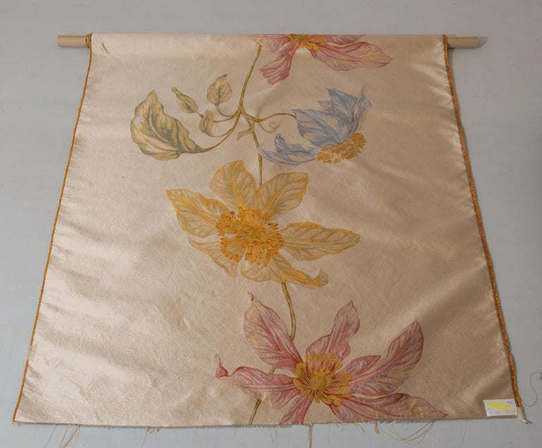 Machine-Made Fabric Panel with Large Vertical Flower For Sale
