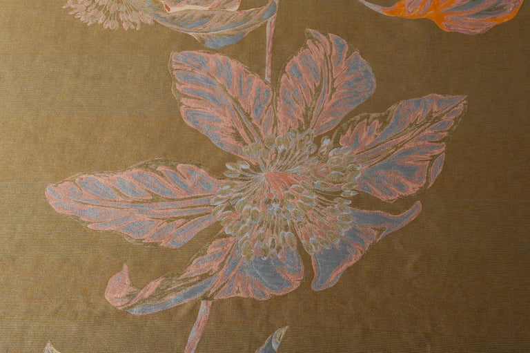 Fabric Panel with Large Vertical Flower In Excellent Condition For Sale In Alessandria, Piemonte
