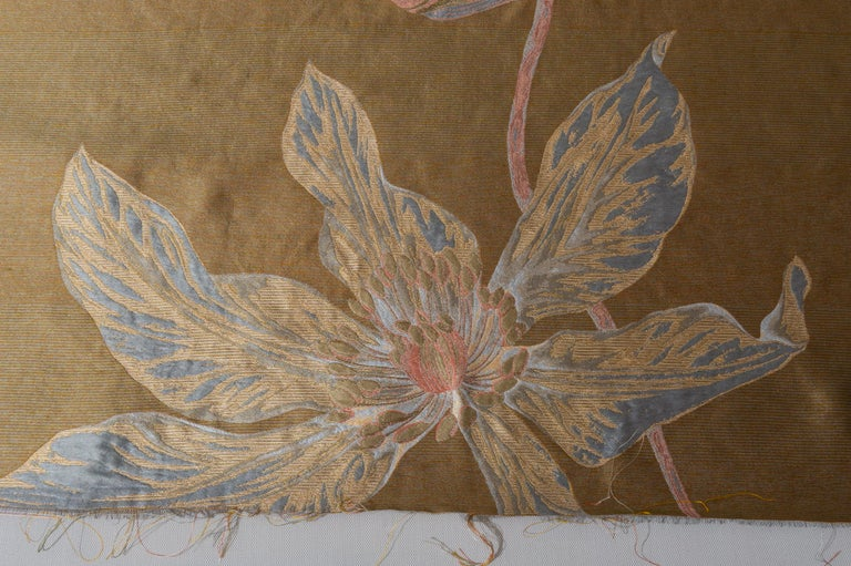Contemporary Fabric Panel with Large Vertical Flower For Sale