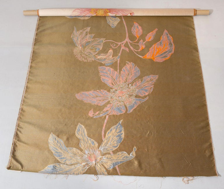 Silk Fabric Panel with Large Vertical Flower For Sale