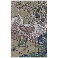 Fabric Tapestry with Heron Design Upholstered Panel on Demand