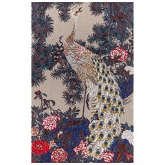 Fabric Tapestry with Peacock Design Upholstered Panel on Demand