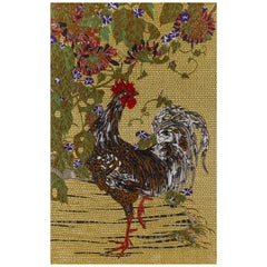 Fabric Tapestry with Rooster Design Upholstered Panel on Demand