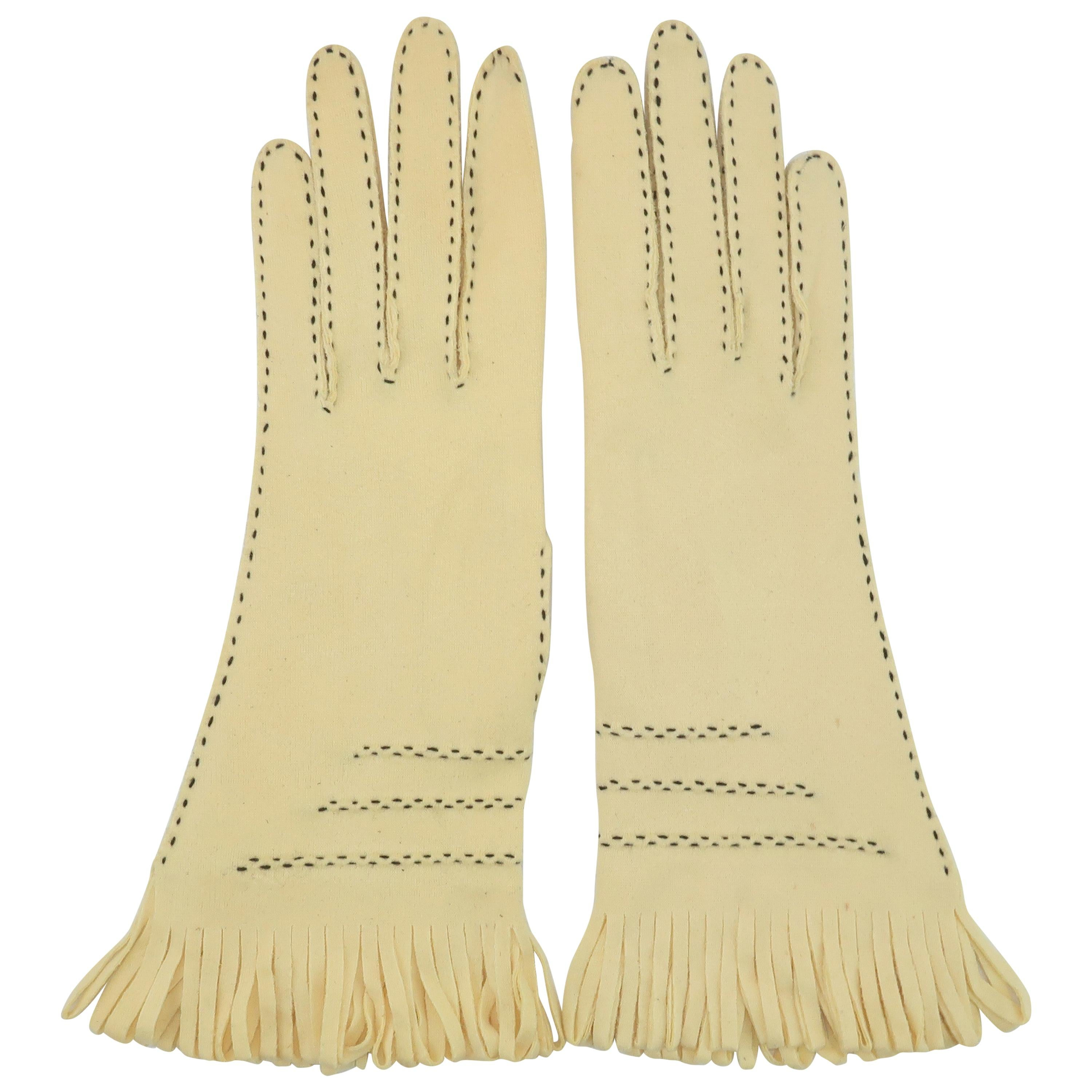 Fabric Western Style Gauntlet Gloves With Fringe Details, 1960's