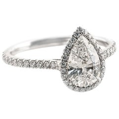 Fabricated Platinum .88 Carat D-VS1 Pear Shape Diamond Halo Engagement Ring