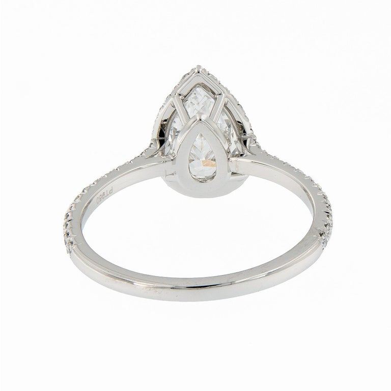 Fabricated Platinum .88 Carat D-VS1 Pear Shape Diamond Halo Engagement Ring In New Condition For Sale In Troy, MI