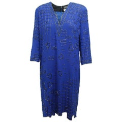 Fabrice Bright Blue Beaded Shift Dress