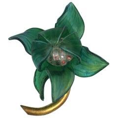 Fabrice Green Resin Flower Brooch