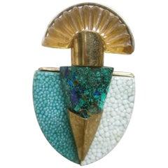 Fabrice Paris Malachite Stone & Resin Lucite Gilt Metal Brooch c 1970