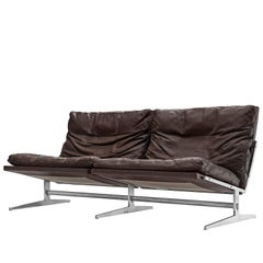 Fabricius and Kastholm Brown Leather Sofa with Steel Frame