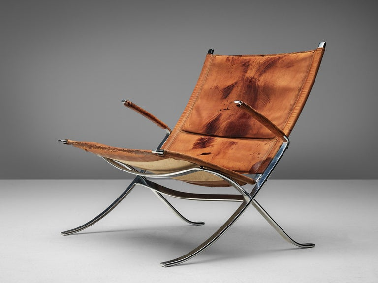 Fabricius and Kastholm for Kill International steel and cognac leather, Denmark, 1960s  The FK82