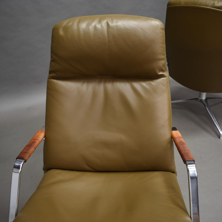 Fabricius and Kastholm FK86 for Kill International Leather Swivel Lounge Chairs For Sale 4
