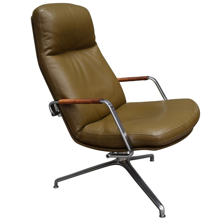Fabricius and Kastholm FK86 for Kill International Leather Swivel Lounge Chairs In Excellent Condition For Sale In Pijnacker, Zuid-Holland
