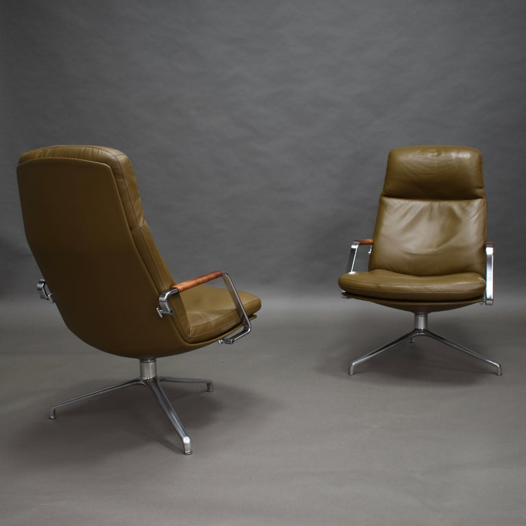 Fabricius and Kastholm FK86 for Kill International Leather Swivel Lounge Chairs For Sale 1