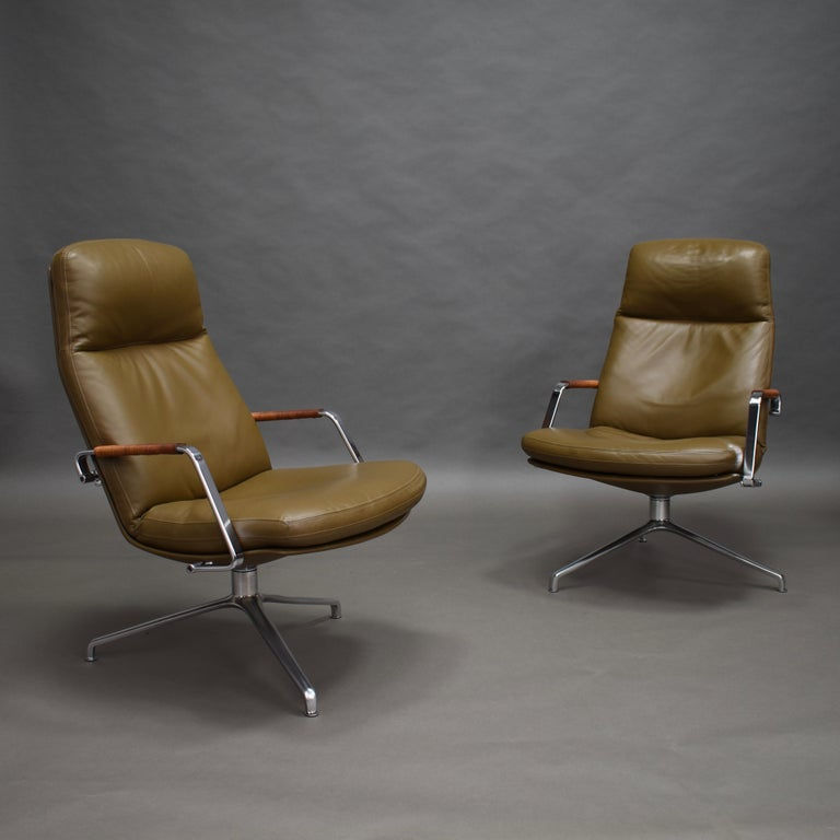 Fabricius and Kastholm FK86 for Kill International Leather Swivel Lounge Chairs For Sale 2