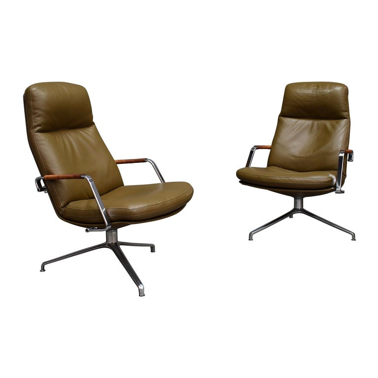Fabricius and Kastholm FK86 for Kill International Leather Swivel Lounge Chairs For Sale