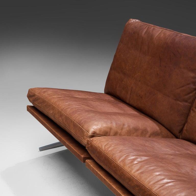 Scandinavian Modern Fabricius & Kastholm Large 'BO561' Sofa in Cognac Leather For Sale