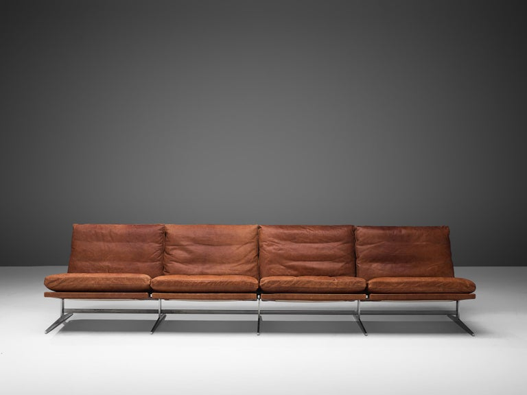Mid-20th Century Fabricius & Kastholm Large BO561 Sofa in Cognac Leather For Sale