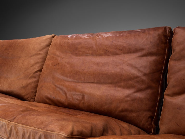 Steel Fabricius & Kastholm Large 'BO561' Sofa in Cognac Leather For Sale