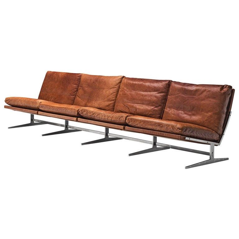 Fabricius & Kastholm Large 'BO561' Sofa in Cognac Leather For Sale