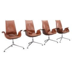 Fabricius & Kastholm Tulip Chairs in Cognac Leather