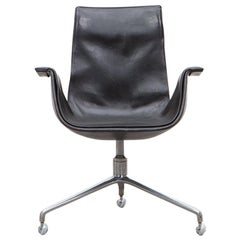Fabricius or Kastholm Leather Swivel Chair