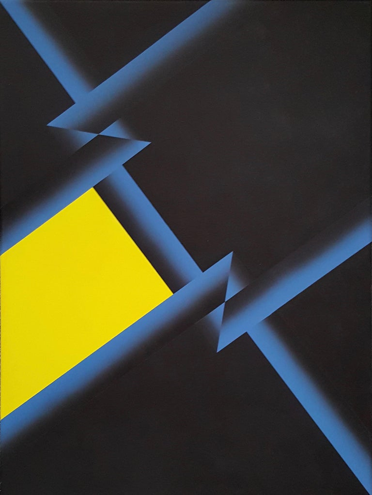 Fabrizio Breschi Abstract Painting -  Black-Yellow-Blue Geometric Abstract